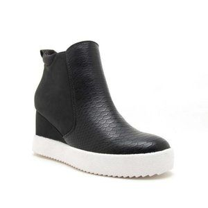 Qupid Shoes - Rodina Black Snake Wedge Sneakers